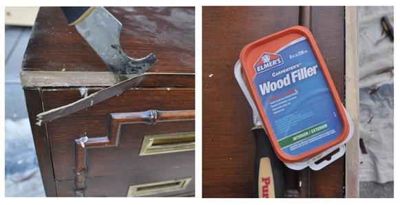 peel veneer wood filler