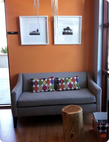 wood stump and sofa