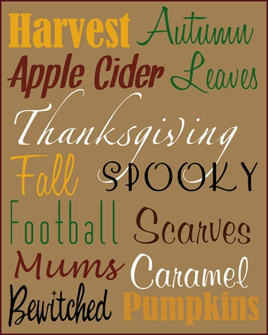 autumn favorites printable