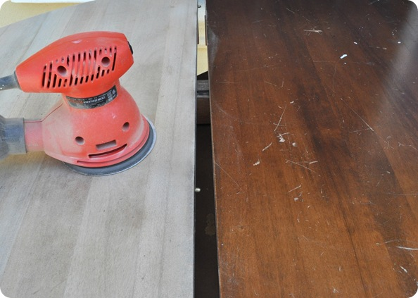 sand off stain from table top