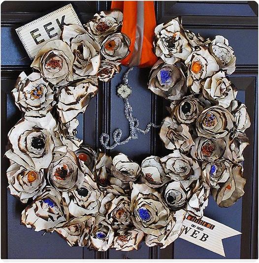burnt paper plate wreath blue sky confections