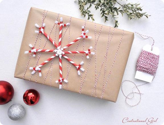 brown package paper straw snowflake