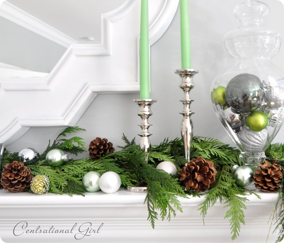green and silver on mantel cg