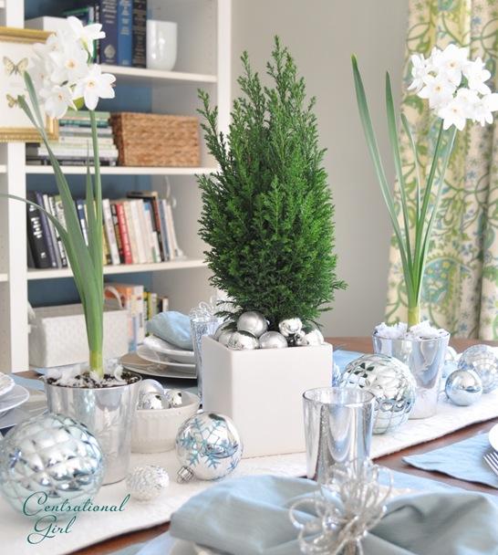 silver ornaments white pot cg