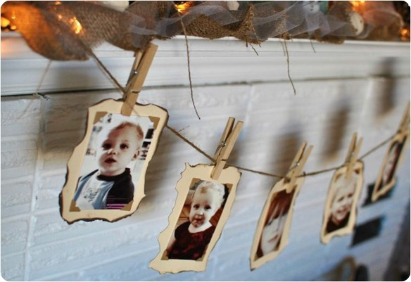 photo garland for mantel