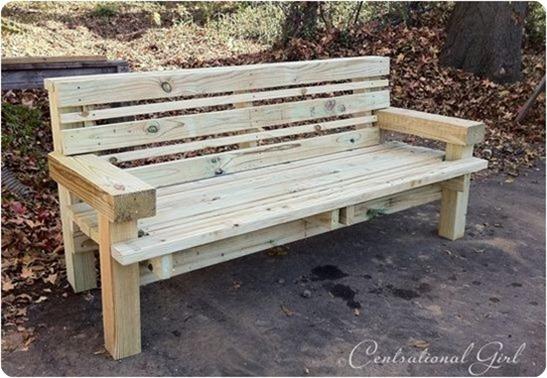 pine outdoor bench