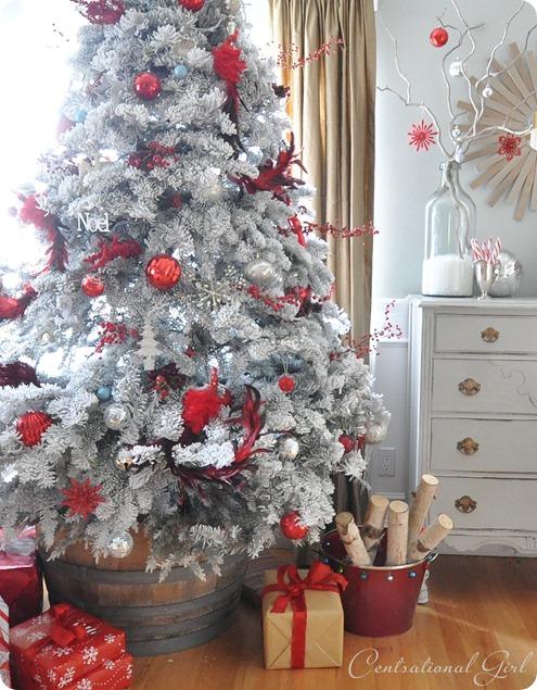 white and crimson tree