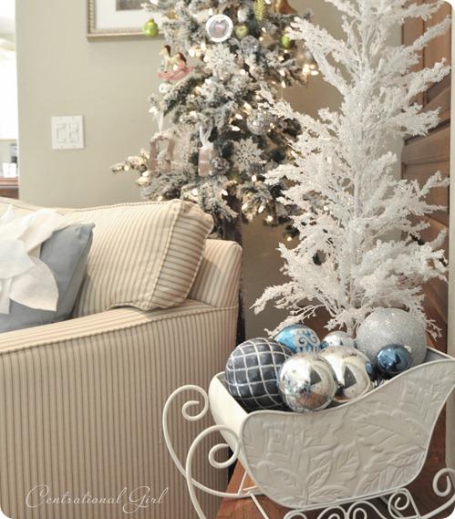 white sleigh silver ornaments