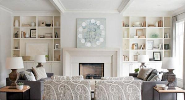 white shelves living room