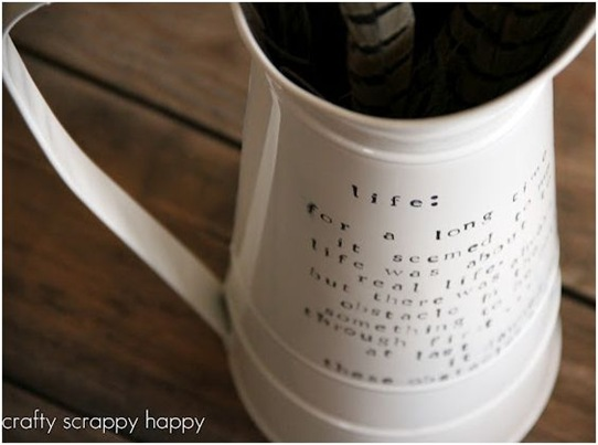 crafty scrappy happy script vase