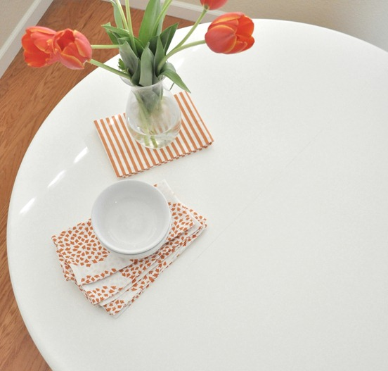 painted white surface of table