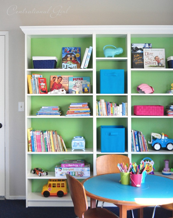 billy bookcases and play table