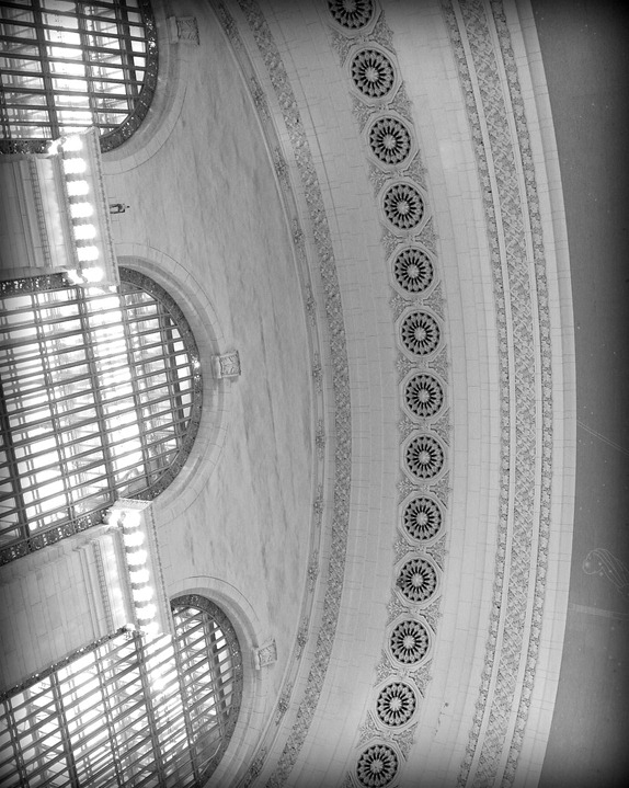 black and white ceiling grand central station