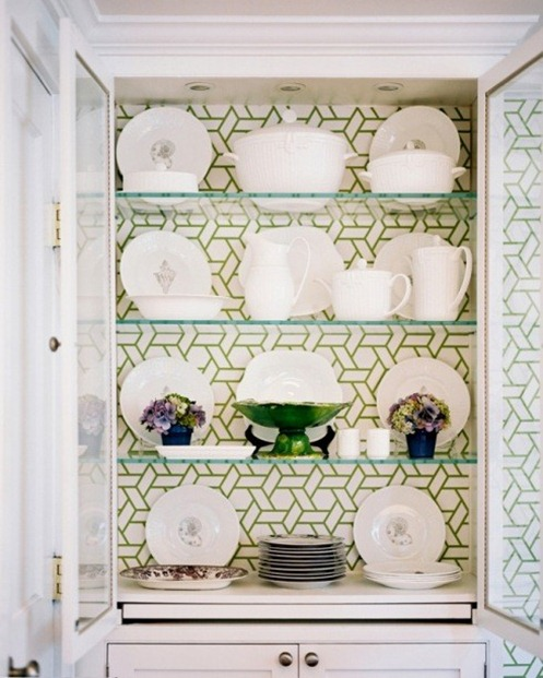 wallpapered hutch lonny