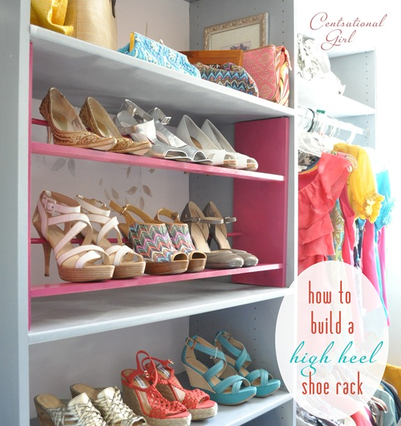 how to build a high heel shoe rack centsational style. Black Bedroom Furniture Sets. Home Design Ideas