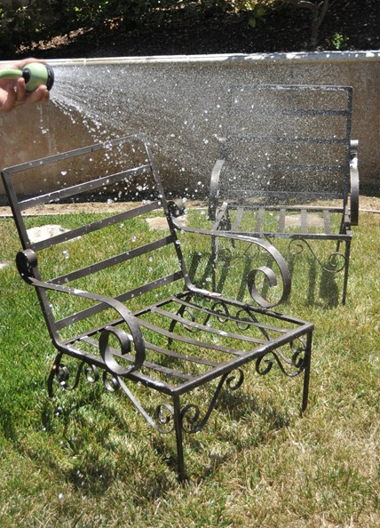power wash outdoor chairs