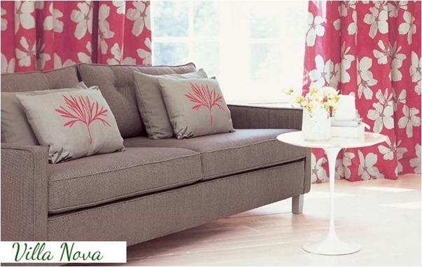 villa nova pink and gray living room