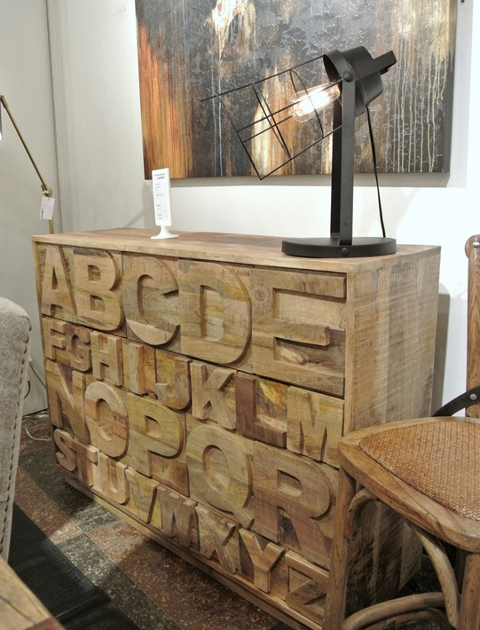 rustic alphabet dresser