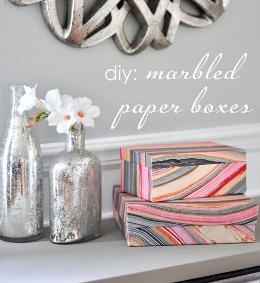diy stacked marbled paper boxes cg