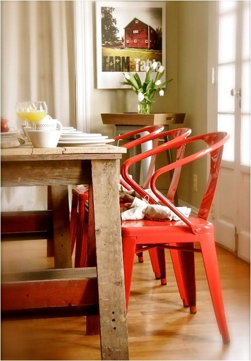 farmhouse table red chairs stephen saint onge