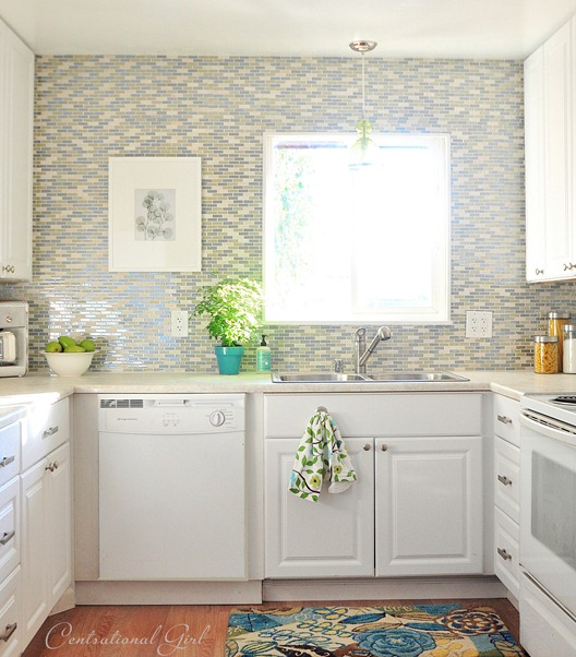 glass tile backsplash around window