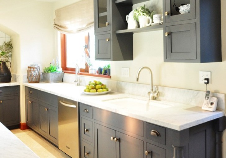 White Kitchen Cabinets With Grey Island