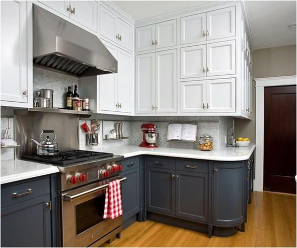 Attractive White Upper Gray Lower Kitchen Cabinets