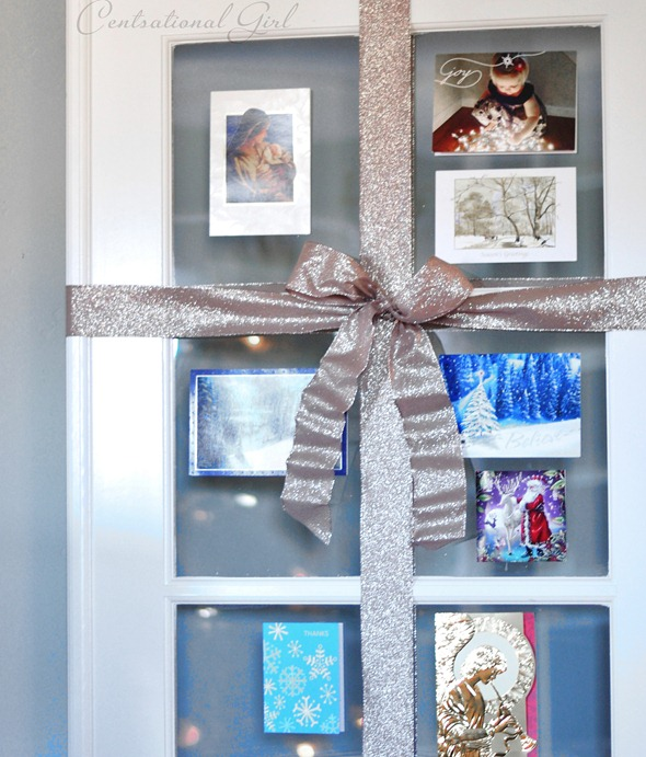 french door with bow and cards