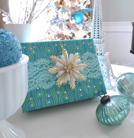 teal blue lace present