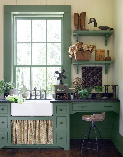 Painted mullions trim centsational style - Mensole cucina country ...