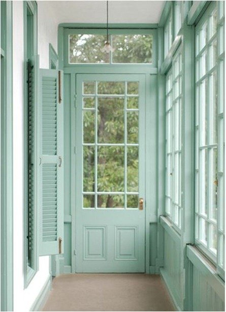mint painted mullions and trim