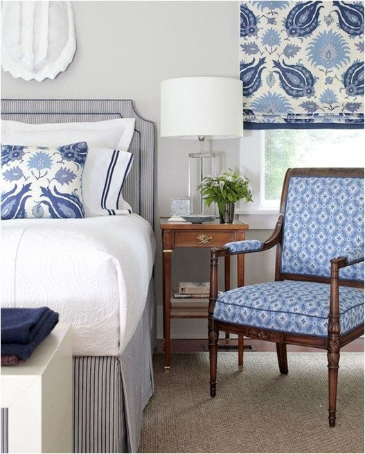 mix of blue patterned fabrics