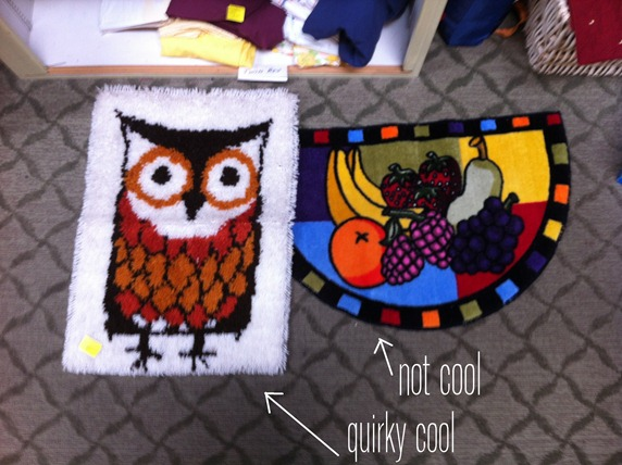 owl and fruit rug