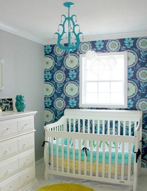 wallpaper feature wall nursery fivedaysfiveways