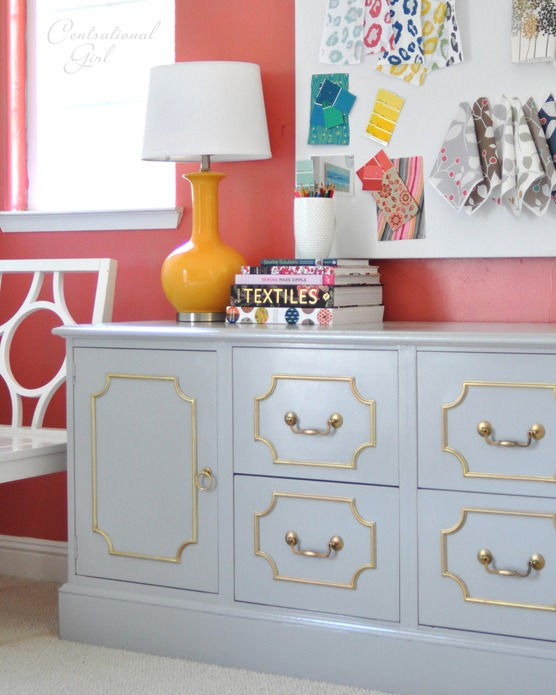 gold and gray credenza