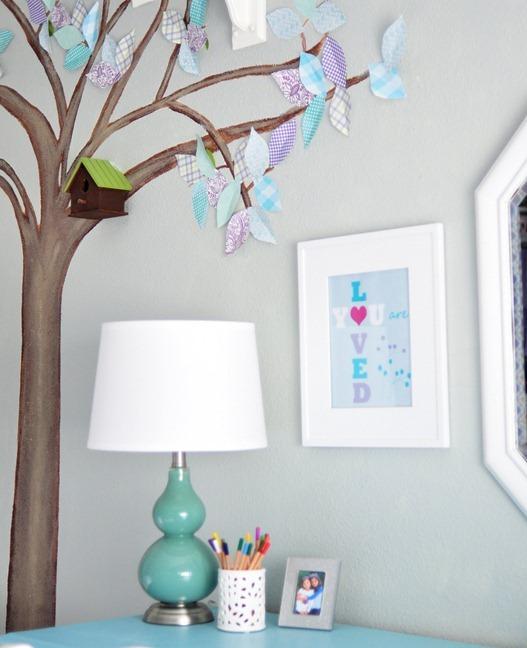 paper leaf tree mural