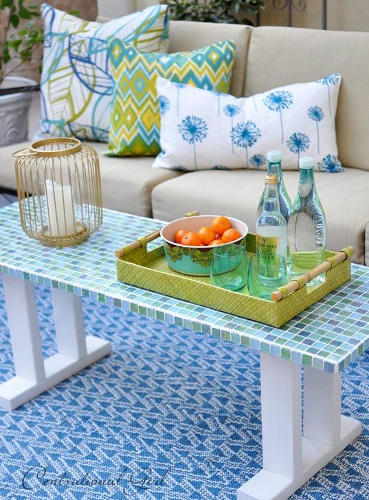 Elegant mosaic tile outdoor table