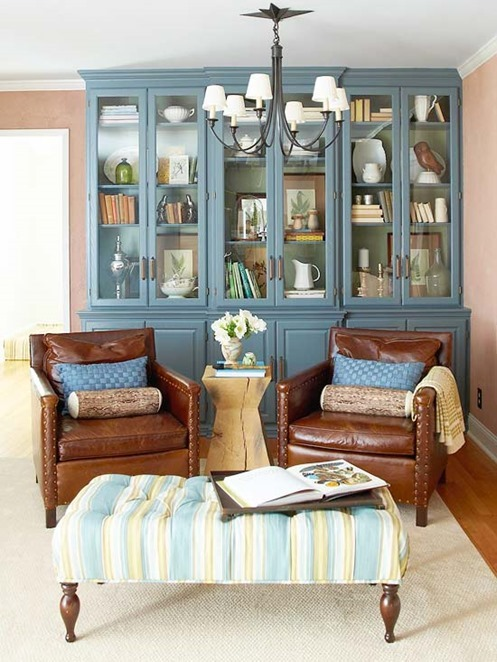 blue cabinets leather chairs bhg