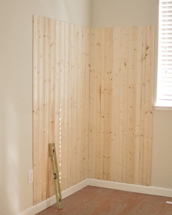 ... Of Adhesive And Nails So The Planks Would Have Staying Power, Applying  A Thin Amount Of Adhesive And Then Securing The Planks To The Wall With A  Brad ...