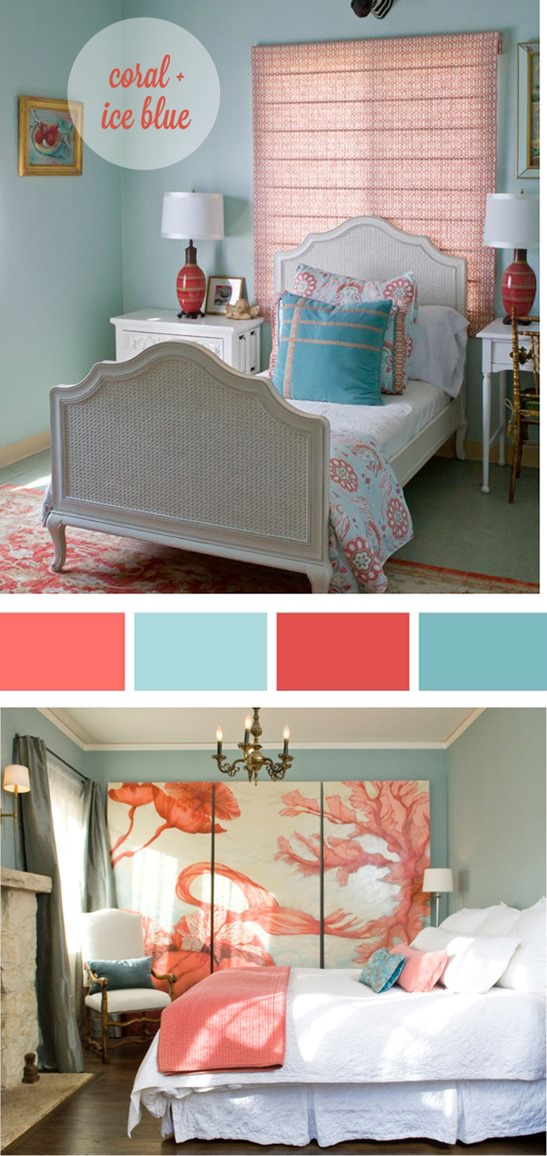 coral and ice blue palette