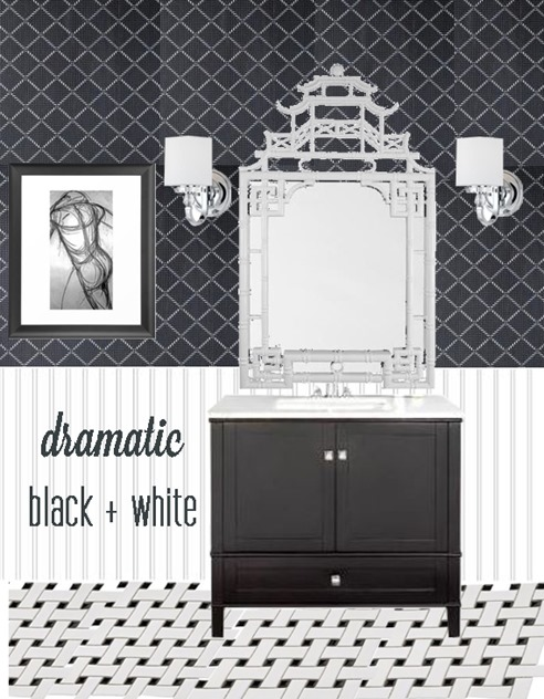 dramatic black and white powder room
