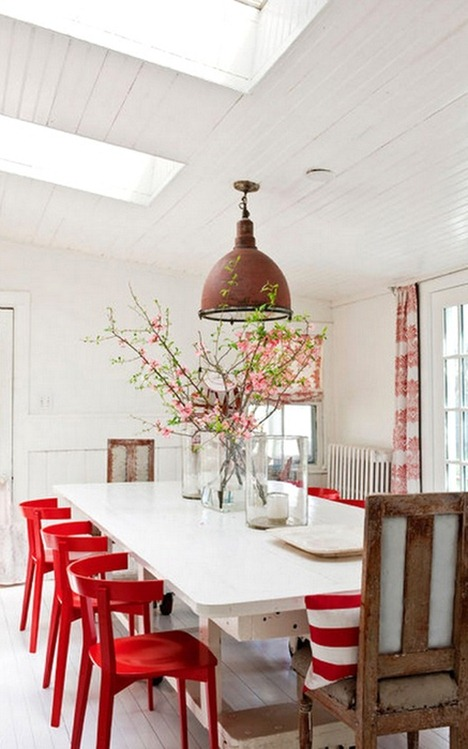 red chairs in dining room