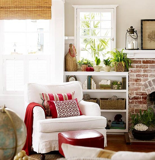 red pillows and ottoman bhg