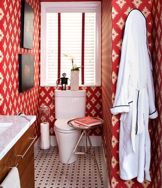 red wallpaper in bathroom