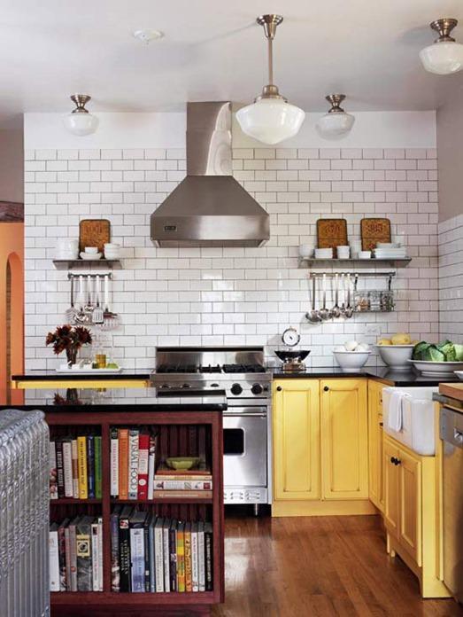 yellow kitchen lower cabinets