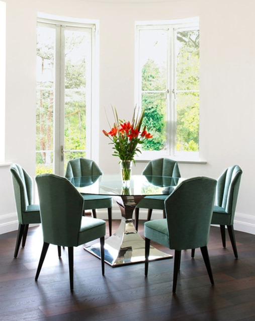 green chairs  in dining room