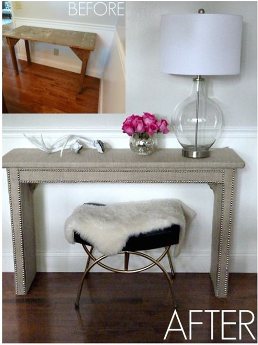 linen and nailhead table