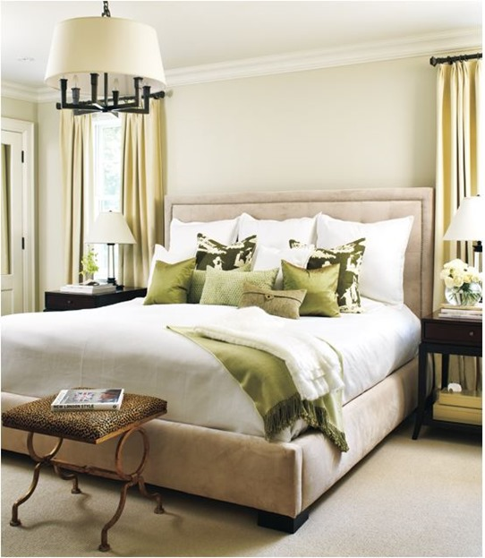 neutral and green bedroom