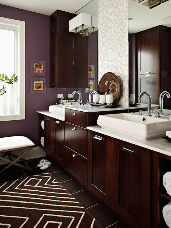 purple in bathroom bhg