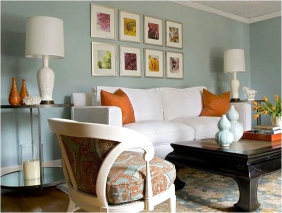 angie hranowski blue and orange living room